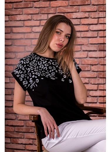 Stamina  Bayan Bisiklet Yaka Leopar Desenli Kısa Kol Bluz-5SP02 Siyah
